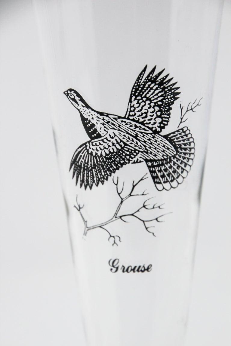 Set of Four Vintage Federal Glass Game Bird Pilsner Glasses For Sale 3