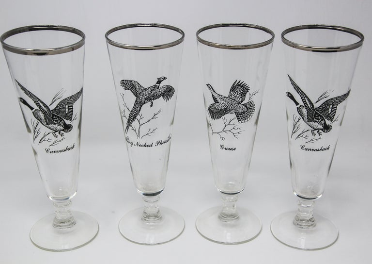 Vintage set of 4 silver rimmed federal glass pilsner glasses game bird. Classic style for the outdoor enthusiast, tall pilsner beer glasses set in the