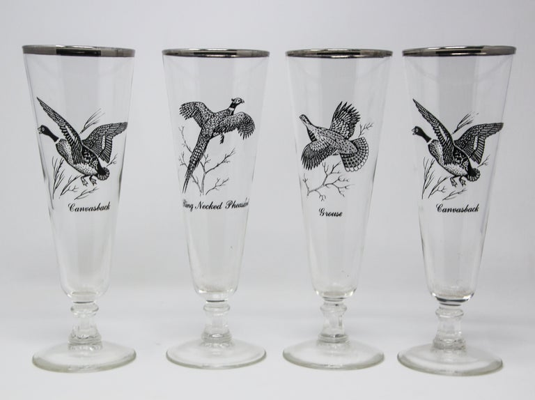 Mid-Century Modern Set of Four Vintage Federal Glass Game Bird Pilsner Glasses For Sale