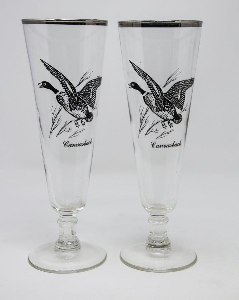 American Set of Four Vintage Federal Glass Game Bird Pilsner Glasses For Sale