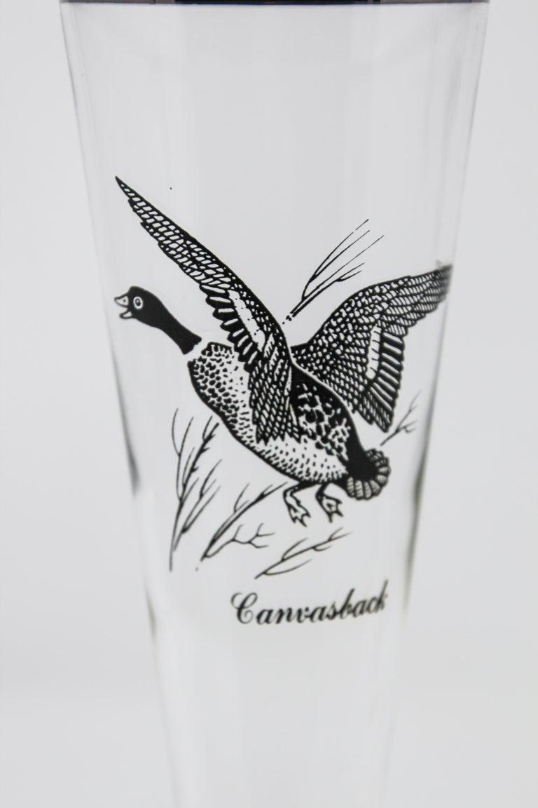 20th Century Set of Four Vintage Federal Glass Game Bird Pilsner Glasses For Sale