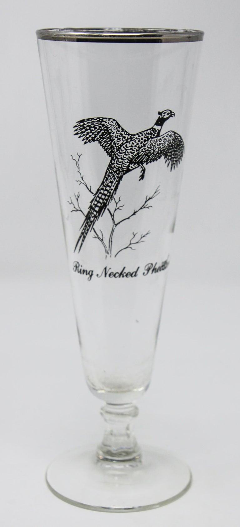 Blown Glass Set of Four Vintage Federal Glass Game Bird Pilsner Glasses For Sale