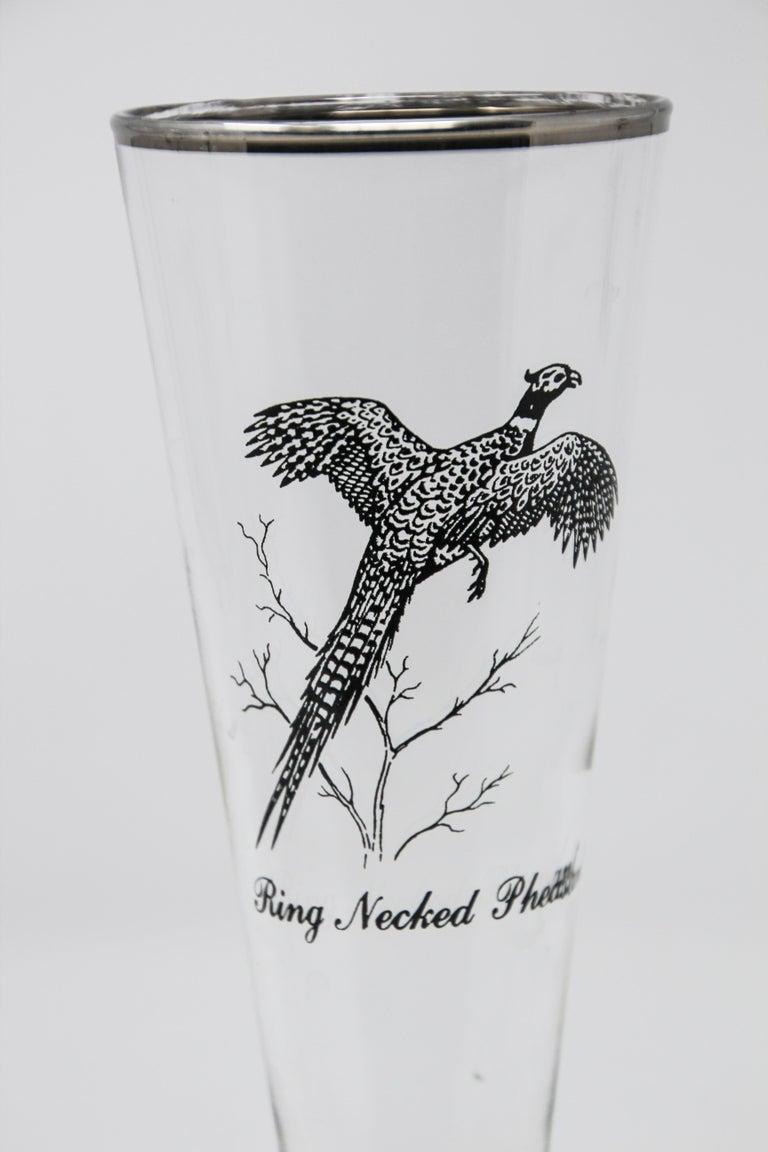 Set of Four Vintage Federal Glass Game Bird Pilsner Glasses For Sale 1