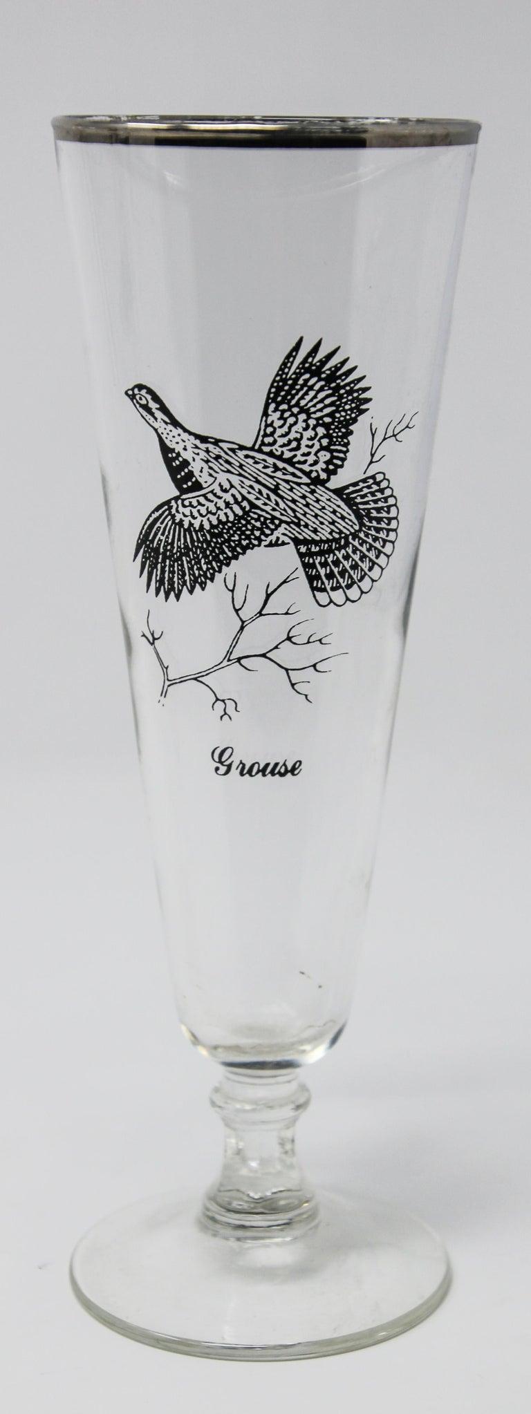Set of Four Vintage Federal Glass Game Bird Pilsner Glasses For Sale 2