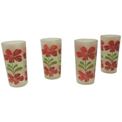 Set of Four Vintage Floral Hand Painted Red and Green Glasses