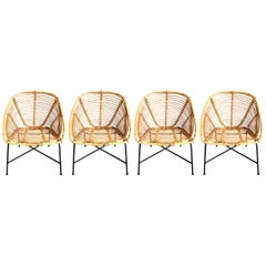 Set of Four Vintage French Wicker and Rattan Chairs