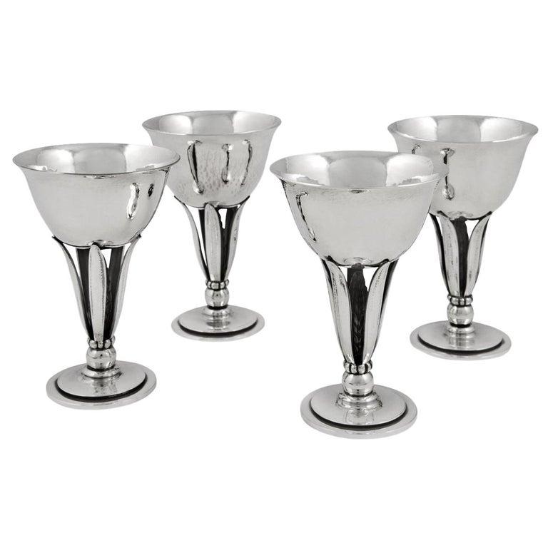 Set of Four Vintage Georg Jensen Goblets #462 by Harald Nielsen For Sale
