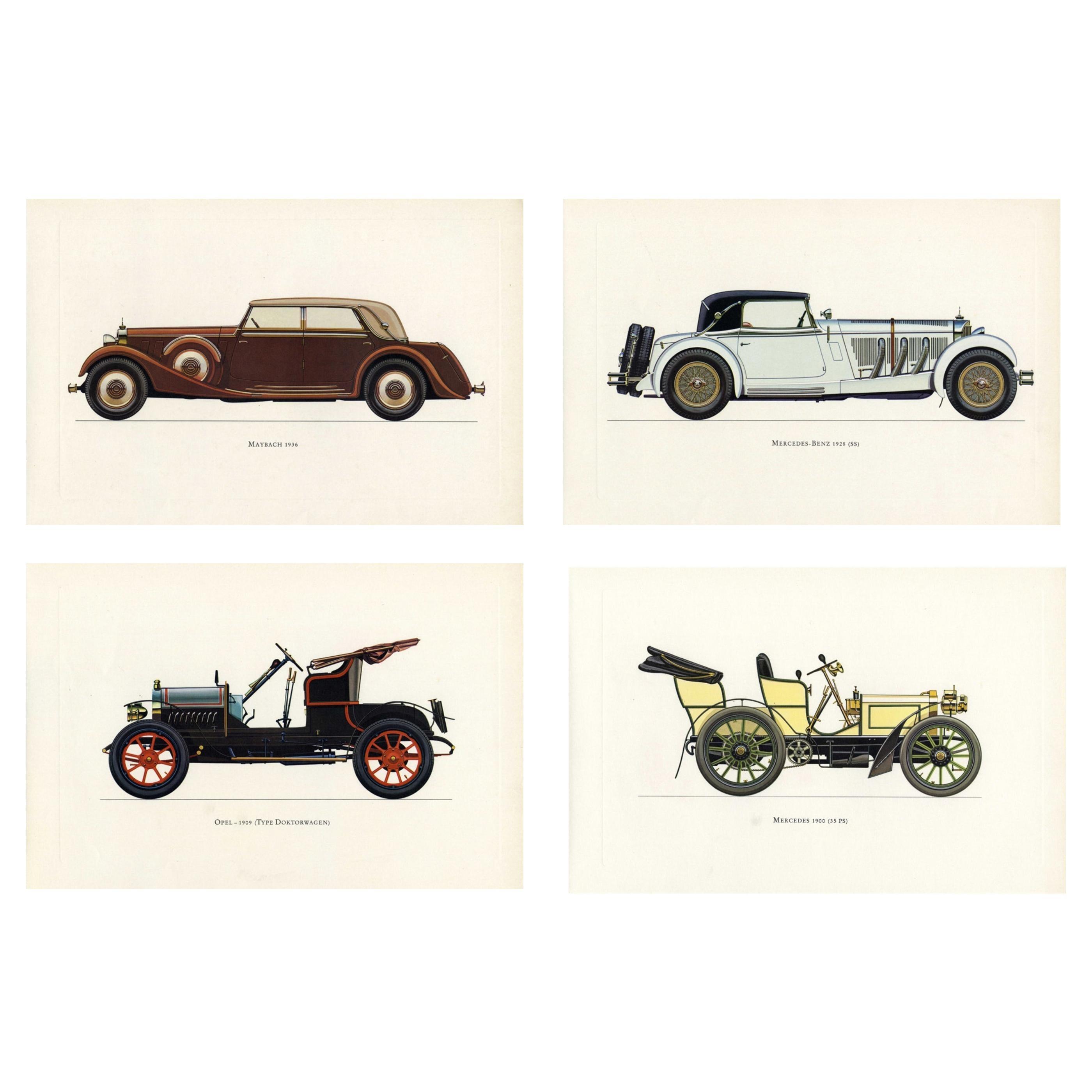 Set of Four Vintage German Cars Framed Color Lithographs Pictures, 1964