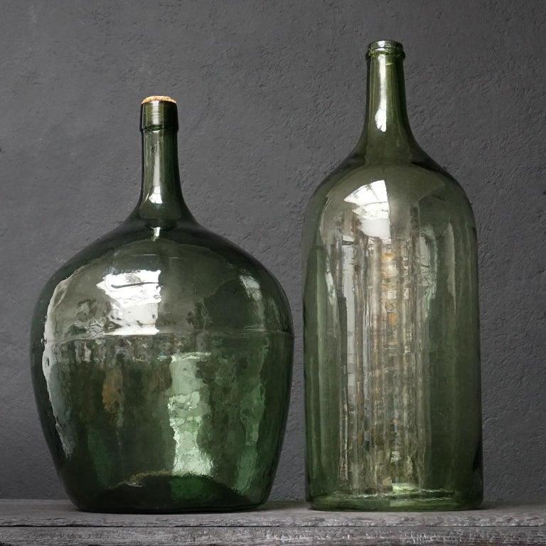 Set of Four Vintage Green Glass Bottles Demijohns, Lady Jeanne or Carboys For Sale 5
