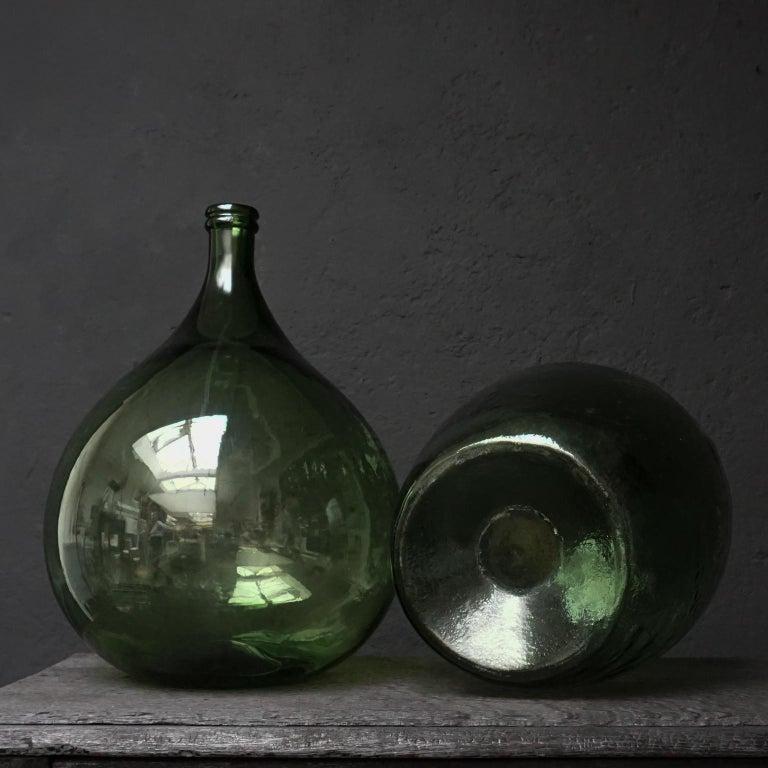 Set of Four Vintage Green Glass Bottles Demijohns, Lady Jeanne or Carboys For Sale 11