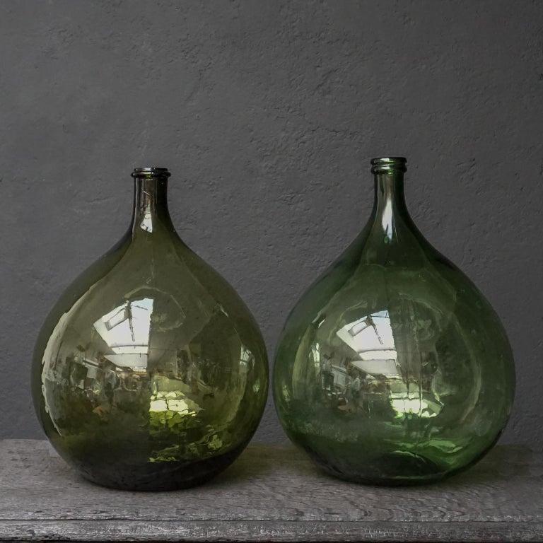Industrial Set of Four Vintage Green Glass Bottles Demijohns, Lady Jeanne or Carboys For Sale
