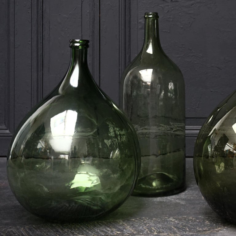 Set of Four Vintage Green Glass Bottles Demijohns, Lady Jeanne or Carboys For Sale 2