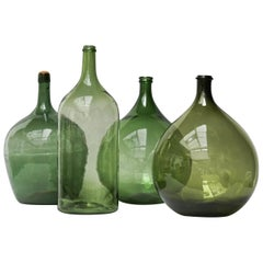 Set of Four Vintage Green Glass Bottles Demijohns, Lady Jeanne or Carboys