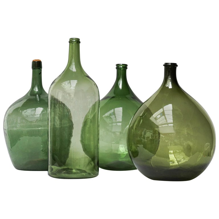 Set of Four Vintage Green Glass Bottles Demijohns, Lady Jeanne or Carboys For Sale