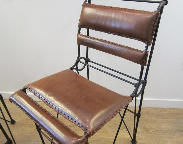 Set of Four Vintage Iron and Stitched Leather Bar Stools For Sale 5