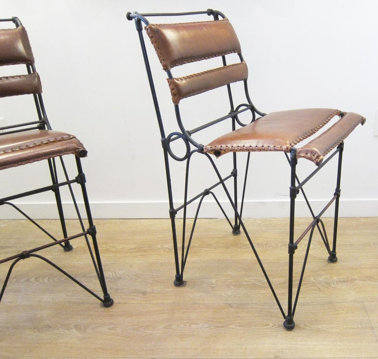 Set of Four Vintage Iron and Stitched Leather Bar Stools In Good Condition For Sale In Miami, FL