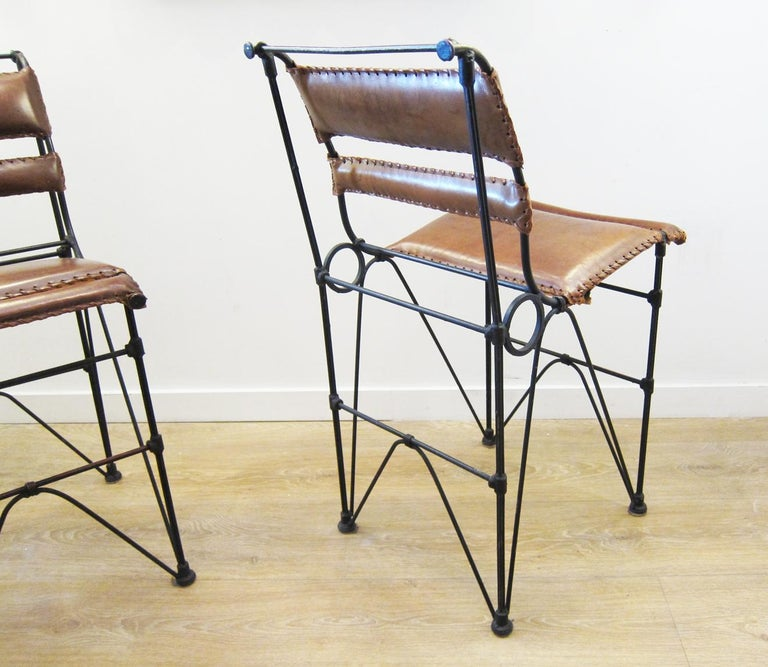 Late 20th Century Set of Four Vintage Iron and Stitched Leather Bar Stools For Sale