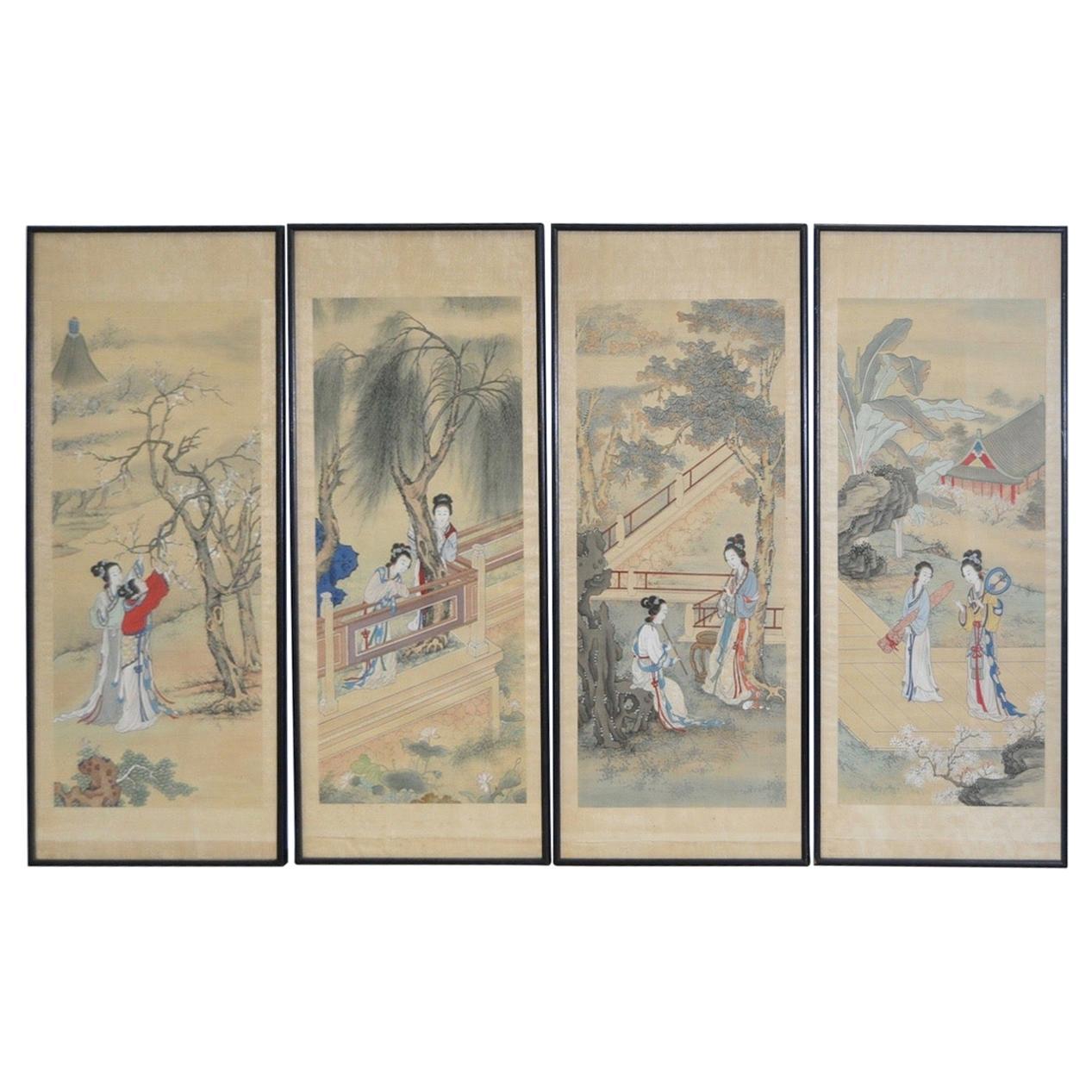 Set of Four Vintage Japanese Paintings on Silk, circa 1930s