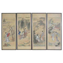 Set of Four Vintage Japanese Paintings on Silk, circa 1930s