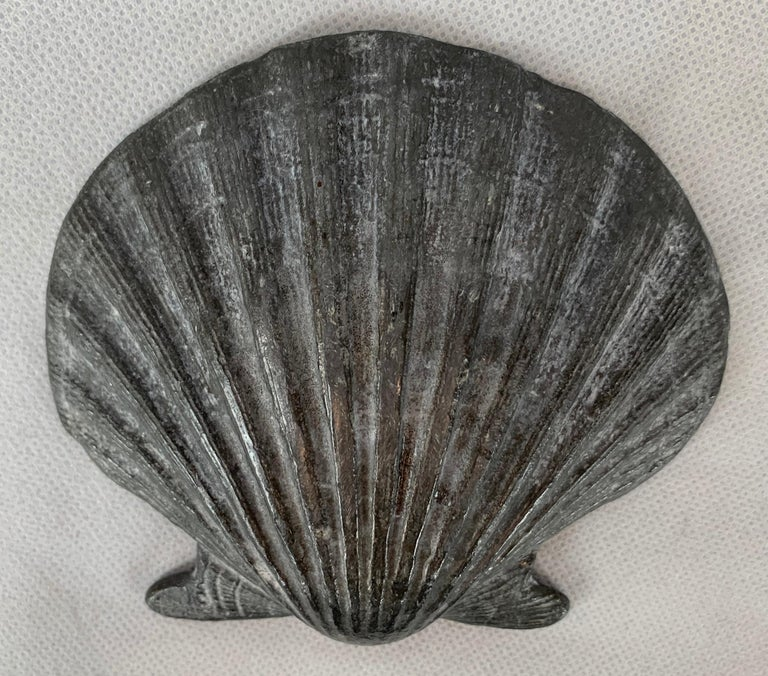 English Set of Four Vintage Lead Scallop Shells for the Garden, Patio, Terrace For Sale