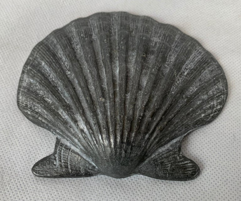 Mid-20th Century Set of Four Vintage Lead Scallop Shells for the Garden, Patio, Terrace For Sale