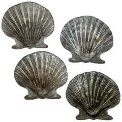 Set of Four Vintage Lead Scallop Shells for the Garden, Patio, Terrace
