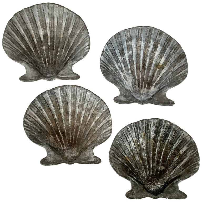 Set of Four Vintage Lead Scallop Shells for the Garden, Patio, Terrace For Sale