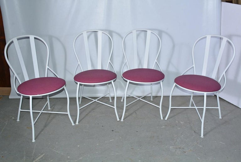 American Set of Four Vintage Metal Garden Dining Chairs For Sale