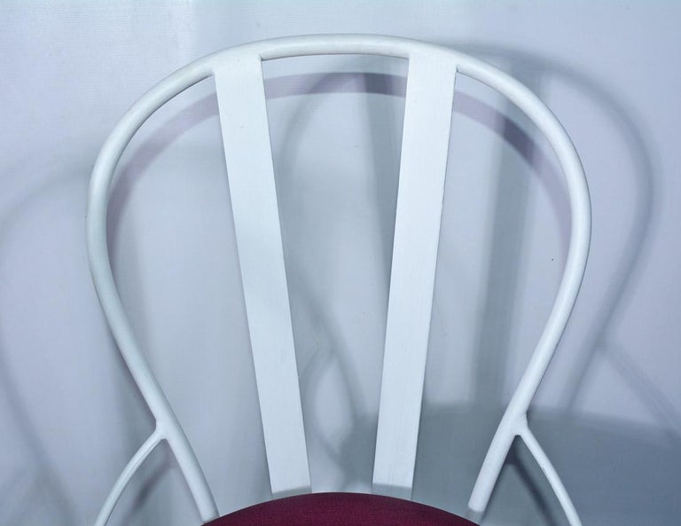 Hand-Painted Set of Four Vintage Metal Garden Dining Chairs For Sale