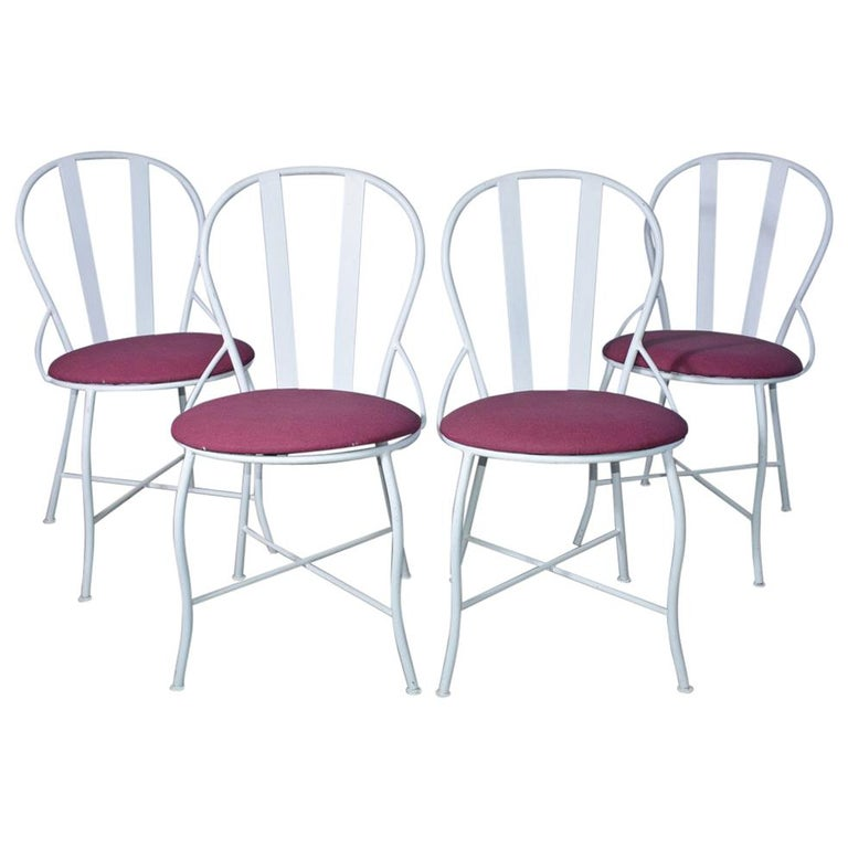 Set of Four Vintage Metal Garden Dining Chairs For Sale