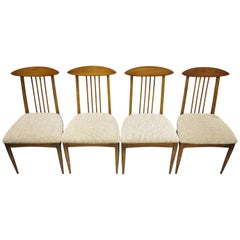 Set of Four Vintage Mid-Century Modern Walnut Spindle Back Dining Chairs