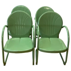 Set of Four Vintage Mint Green Enameled Metal Patio Garden Chairs, C.1940s