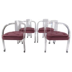 Set of Four Vintage Modern Tubular Lucite Dining Chairs