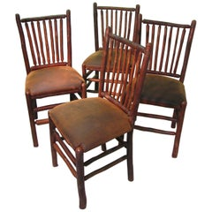 Set of Four Vintage Old Hickory Adirondack Dining Side Chairs