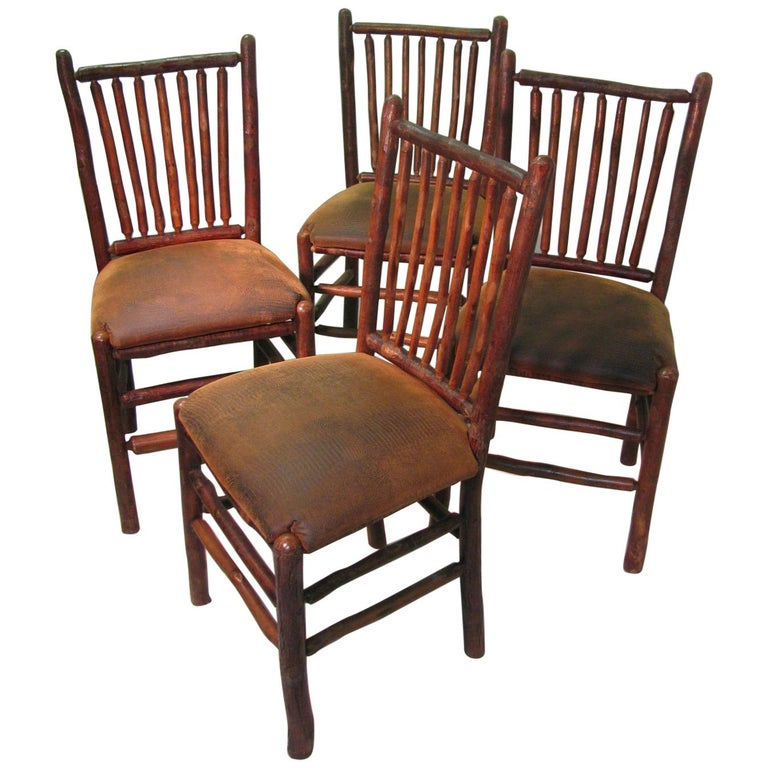 Set Of Four Vintage Old Hickory Adirondack Dining Side