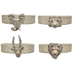 Set of Four Vintage Pewter Safari Themed Napkin Rings