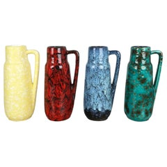 "Set of Four Vintage Pottery Fat Lava Vases ""275-20"" by Scheurich, Germany, 1970s"