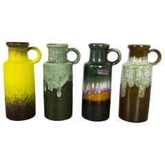 "Set of Four Vintage Pottery Fat Lava Vases ""401-20"" by Scheurich, Germany, 1970s"