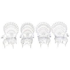 Set of Four Vintage Salterini White Peacock Chairs