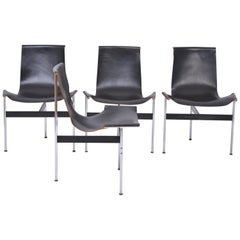 Set of Four Midcentury T-Chairs in black Leather by Katavolos, Littell and Kelly
