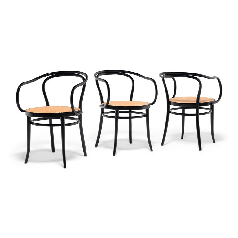 Set of Four Vintage Thonet Bentwood Cane Chairs For Sale 4
