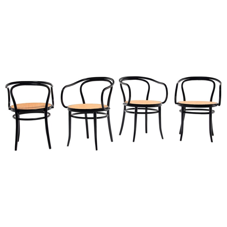 Set of Four Vintage Thonet Bentwood Cane Chairs For Sale
