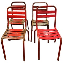 Set of Four Vintage Tolix Café Chairs by Xavier Pauchard