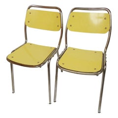 Set of Four Vintage Yellow Chairs Attributable to Gae Aulenti, Italy, 1950s
