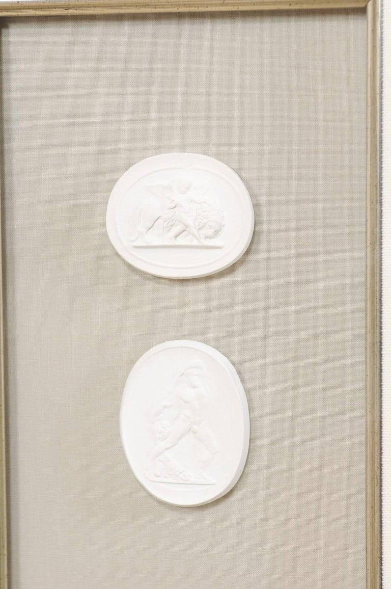 Set of Four Wall Decorations of Hand-Cast White Intaglios in Silver Leaf Frames For Sale 4
