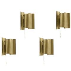 Set of Four Wall Lights in Brass by Sven Ivar Dysthe for Høvik Verk, 1960s