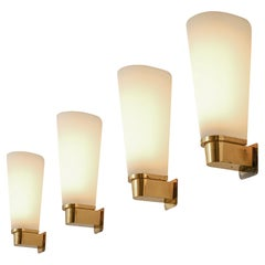 Set of Four Wall Lights in Brass