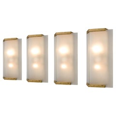 Set of Four Wall Lights with Brass and Opaline Glass
