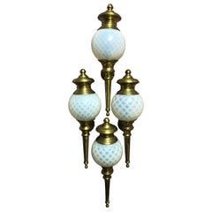 Set of Four Wall Sconces Brass and Opaline Glass Wall Lights, circa 1920s
