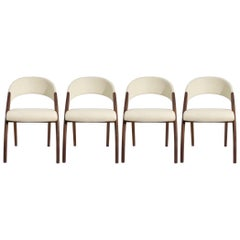 Set of Four Walnut and Cream Leather Dining Chairs by Venjakob